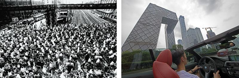 骑自行车上班的人们 陆杰1985 上海 开着敞篷跑车的青年路过CBD核心区 吴波 2018 北京国贸桥附近