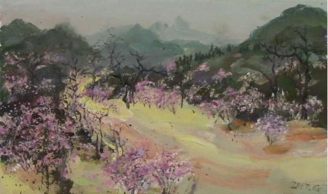 世外桃源01,2017,布面油画,32 × 56cm