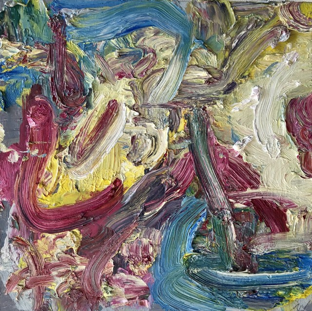 花开的声音,2018,布画油画,40 × 40cm